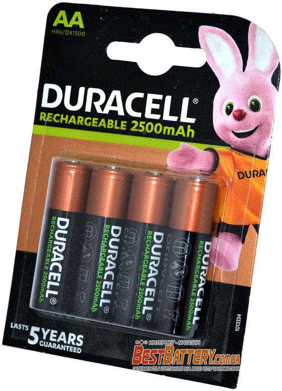 Duracell 2500 mAh AA пальчиковые аккумуляторы 4 шт. в блистере.