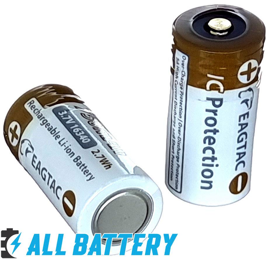EagTac 16340 3.7В Li-Ion 750 mAh - литий-ионые аккумуляторы формата RCR123 (16340) ёмкостью 750 mAh со встроенной платой защиты.