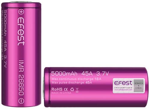 Efest 26650 5000 mAh 45A (18A) Li-Ion высокотоковый IMR аккумулятор без защиты.