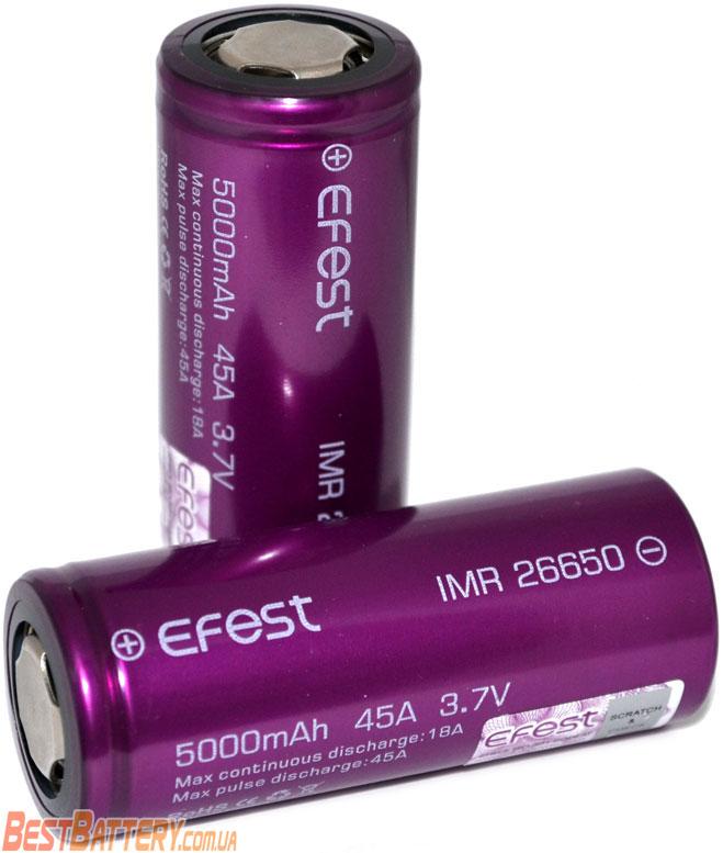 Техническая характеристика Efest 26650 45A 5000 mAh.