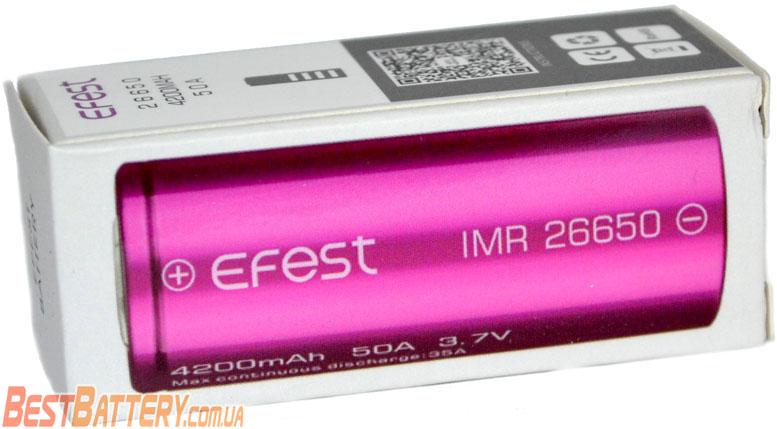 Техническая характеристика Efest 26650 50A 4200 mAh.
