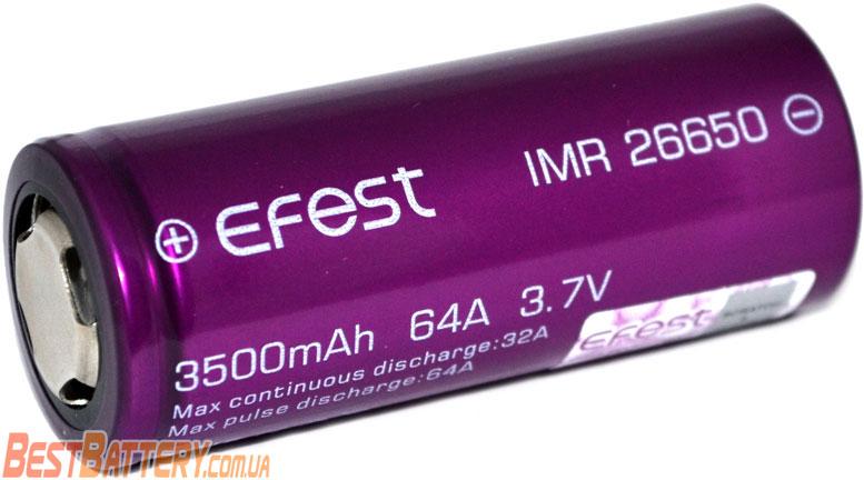 Особенности аккумуляторов 26650 Efest 3500 mAh 64A.