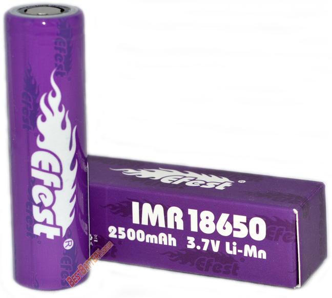 Efest IMR 18650 2500 mAh 35A Purple Высокотоковый литиевый аккумулятор.