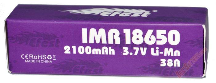 Efest IMR 18650 2100 mah 38A высокотоковый аккумулятор без защиты.