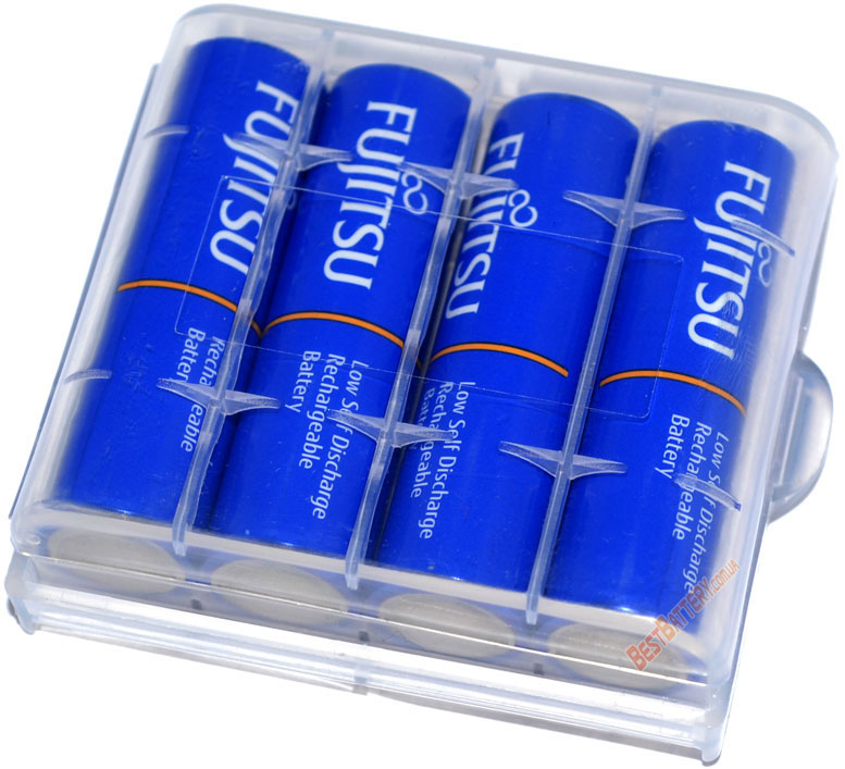 Пальчиковые аккумуляторы Fujitsu 2000 mAh (min 1900 mAh) HR-3UTI в пластиковом боксе (АА).