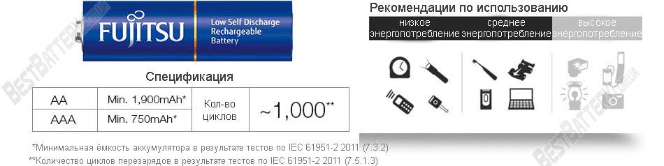 Fujitsu 2000 mAh HR-3UTI AA рекомендации по использованию.
