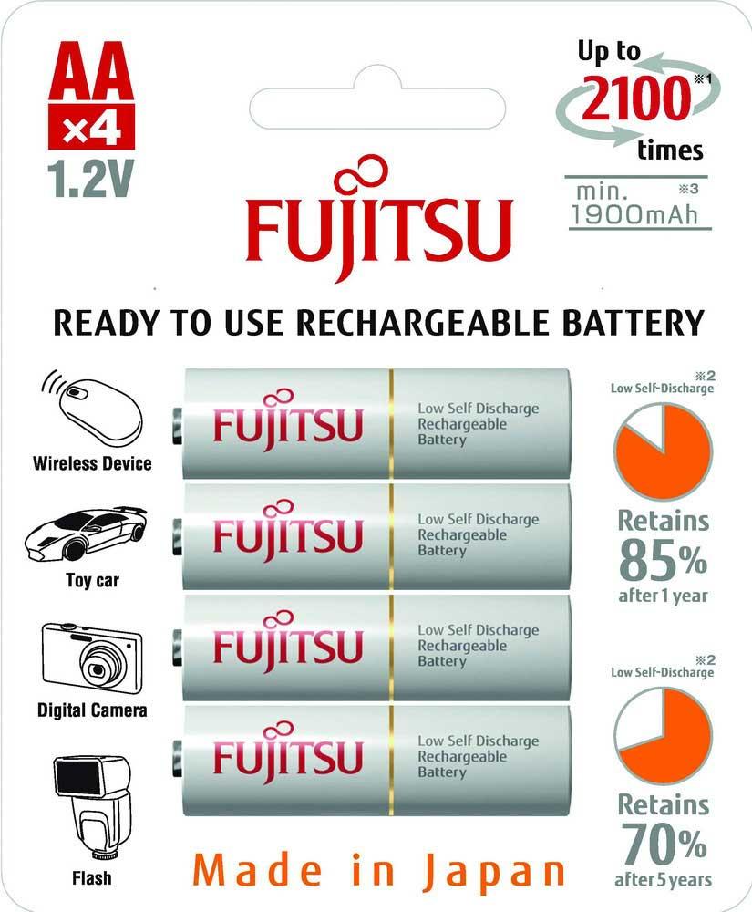 Пальчиковые аккумуляторы Fujitsu 2000 mAh (min 1900 mAh) серии HR-3UTCEX 4в