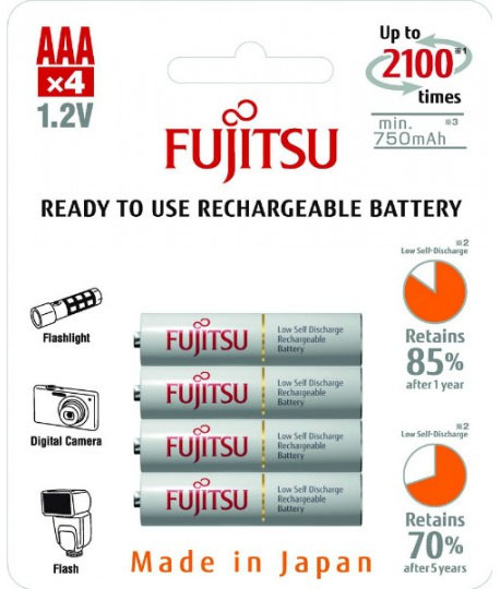 Fujitsu 800 mAh (HR-4UTCEX/4B) в блистере AAA минипальчиковые аккумуляторы