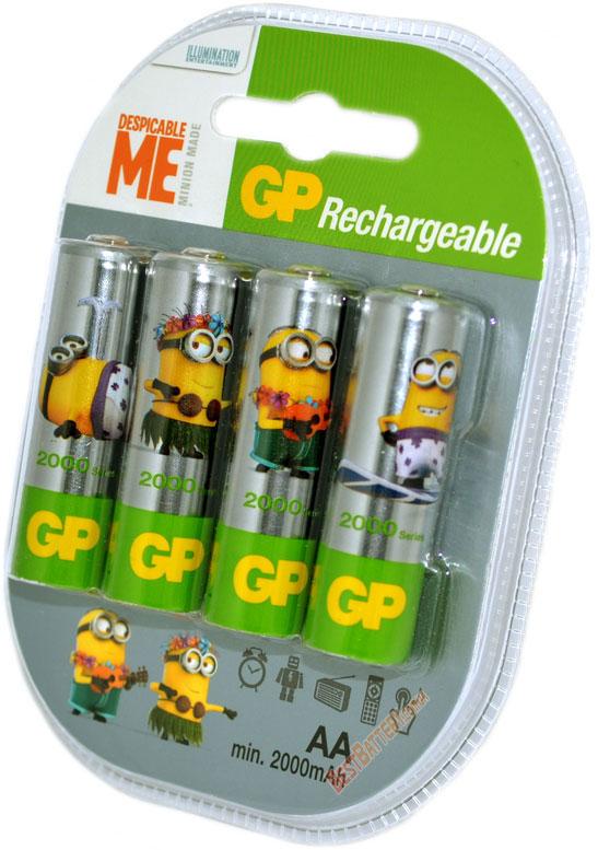 Пальчиковые аккумуляторы GP Minion Made на 2000 mAh с низким саморазрядом (АА).