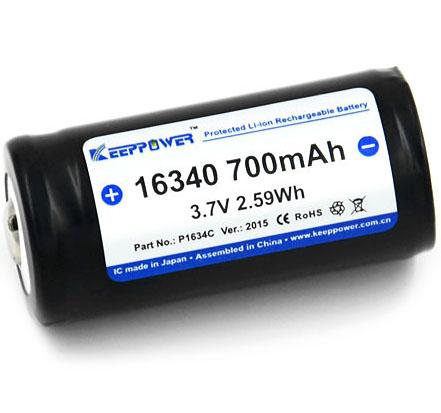 Keeppower 16340 (123A) 700 mAh Li-ion аккумулятор с защитой.