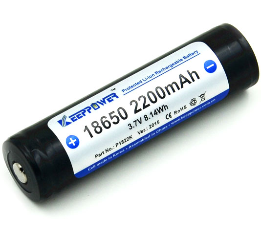 KeepPower 18650 2200 mAh Li-ion аккумулятор с защитой.