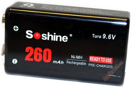 Soshine 9,6V 260 mAh аккумулятор типа Крона с повышенным напряжением (для энергоёмких устройств).
