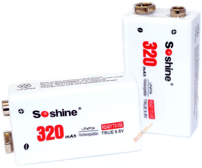 Soshine 9,6V 320 mAh LiFePO4 аккумулятор Крона с повышенным напряжением.