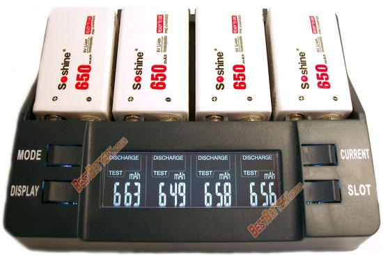 Емксость аккумуляторов Крона Li-ion Soshine 9V 650 mAh результат теста