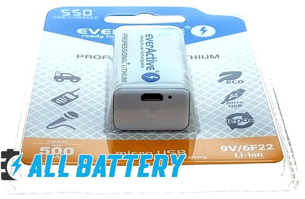 Крона Ever Active 9V 550 mAh micro USB - Li-Ion аккумулятор формата Крона со встроенным зарядным.