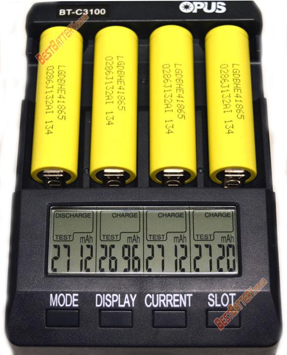 Результат тестирования аккумуляторов LG HE4 18650 2500mAh 20A: