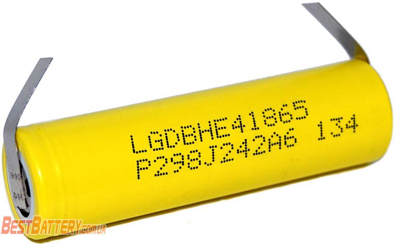 LG HE4 2500 mAh - высокотоковый аккумулятор 18650 с лепестками для пайки.