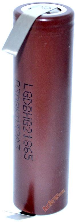 Аккумулятор LG HG2 18650 Solder Tags с лепестками.