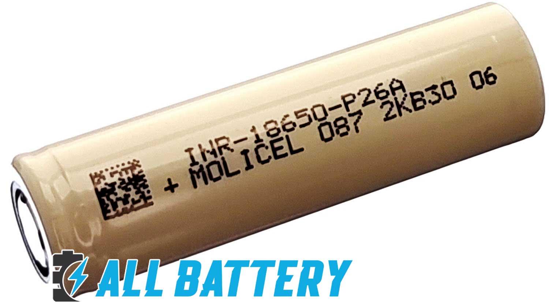 Molicel P26A 2600 mAh INR 35А - высокотоковые литий-ионные аккумуляторы формата 18650 без защиты.