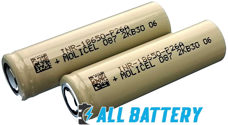 Аккумуляторы 18650 Molicel P26A 2600 mAh 35А Без защиты.