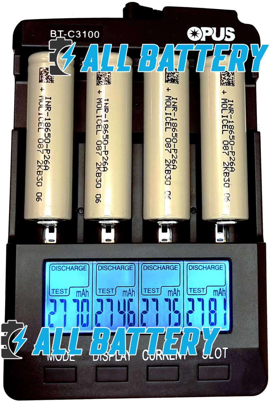 18650 Molicel P26A 2600 mAh 35А Без защиты результаты тестов.