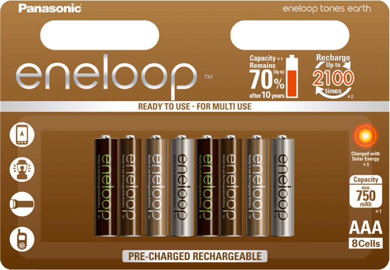 Аккумуляторы Panasonic Eneloop Earth 800 mAh (min 750 mAh) 8 шт. в блистере ААА.