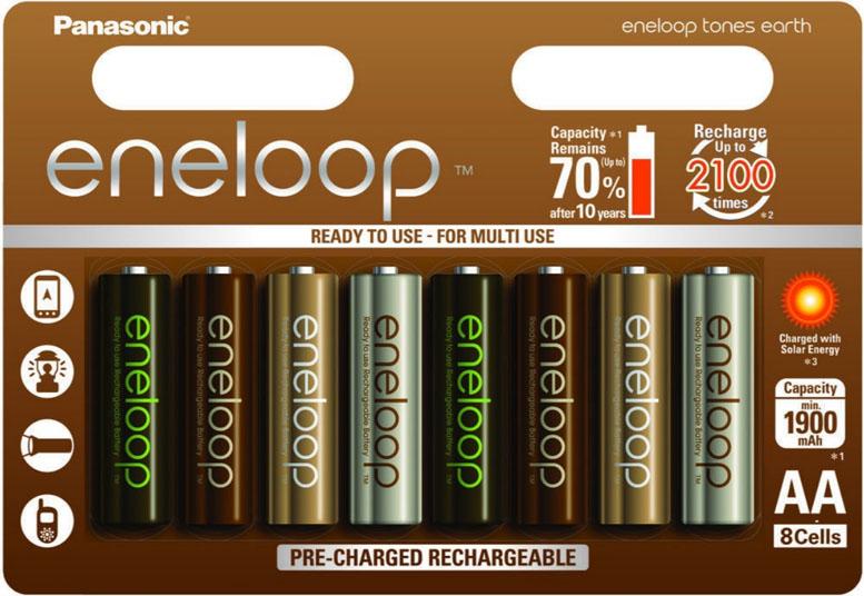 Panasonic Eneloop Earth 2000 mAh (min 1900 mAh) пальчиковые аккумуляторы.