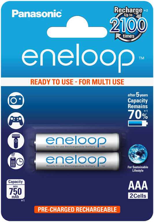 Минипальчиковые аккумуляторы Panasonic Eneloop 800 mAh (min 750 mAh) BK-4MCCE/2BE в блистере (AAA).
