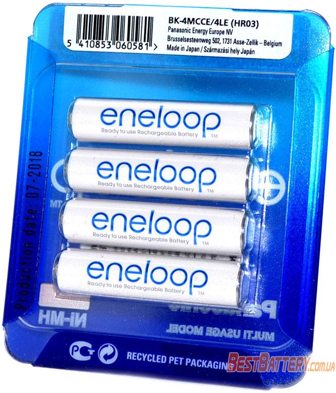 ААА аккумуляторы Panasonic Eneloop 800 mAh (min 750 mAh) BK-4MCCE 4LE в блистере (AAA).