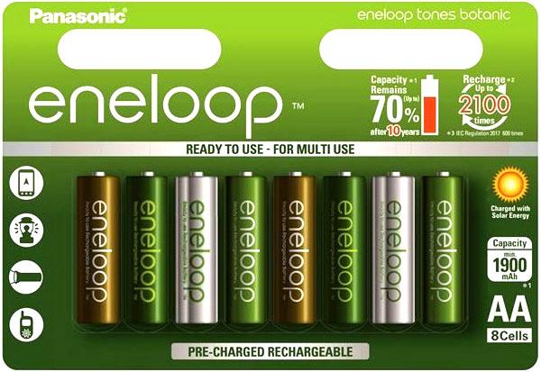 Пальчиковые аккумуляторы Panasonic Eneloop Botanic 2000 mAh (min 1900 mAh) 8 шт. в блистере. AA.