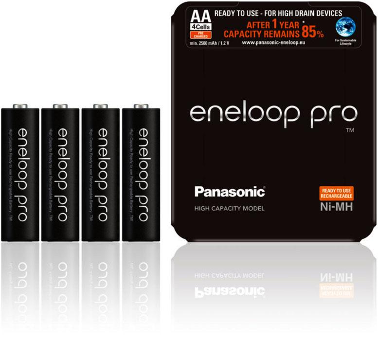 АА аккумуляторы Panasonic Eneloop Pro 2600 mAh BK-3HCDE 4LE в блистере.