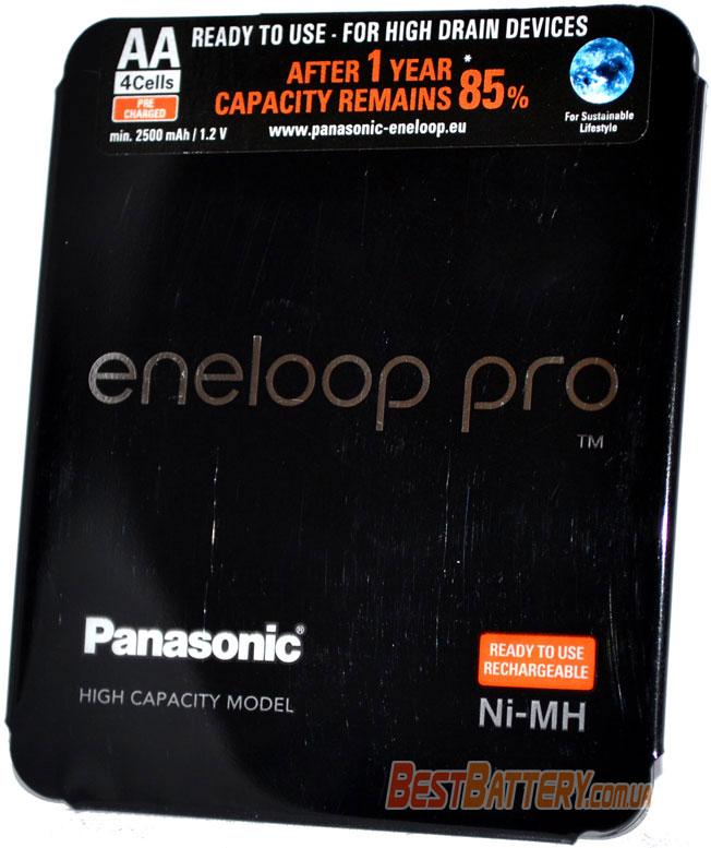 АА аккумуляторы Panasonic Eneloop Pro 2600 mAh пластиковый блистер BK-3HCDE/4LE.