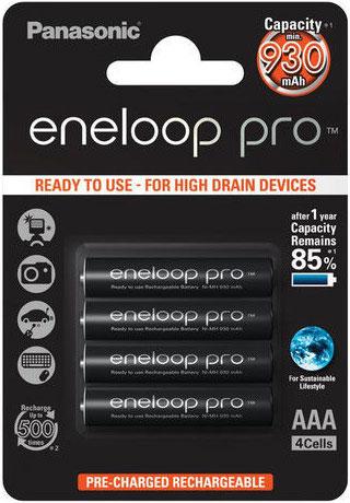Минипальчиковые аккумуляторы Panasonic Eneloop Pro 980 mAh (min. 930 mAh) - серия BK-4HCDE 4BE.