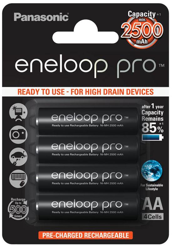 АА аккумуляторы Panasonic Eneloop Pro 2600 mAh (min 2500 mAh) - серия BK-3HCDE 4BE