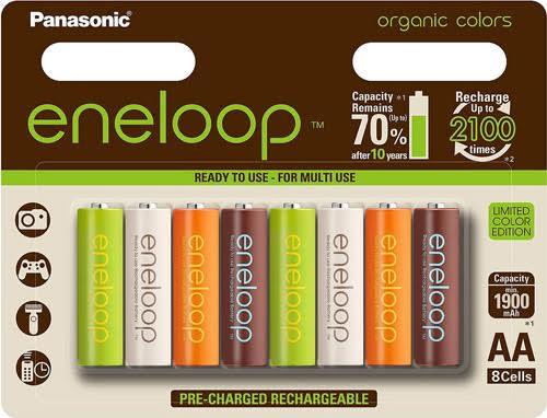 Пальчиковые аккумуляторы Panasonic Eneloop Organic Colors 2000 mAh 8 шт. в блистере.