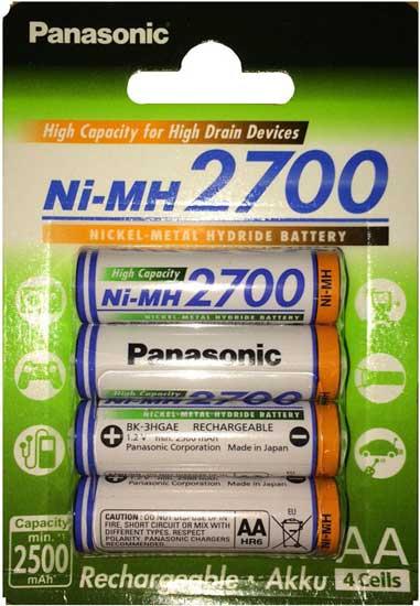 Пальчиковые АА аккумуляторы Panasonic 2700 mAh (BK 3HGAE)