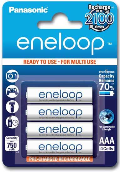 Panasonic Eneloop 800 mAh (min 750 mAh) BK-4MCCE в блистере - 4 поколение аккумуляторов Eneloop