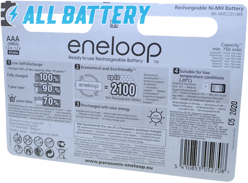 Техническая характеристика Panasonic Eneloop 800 mAh BK-4MCCE/ 4BE блистер + Бокс.