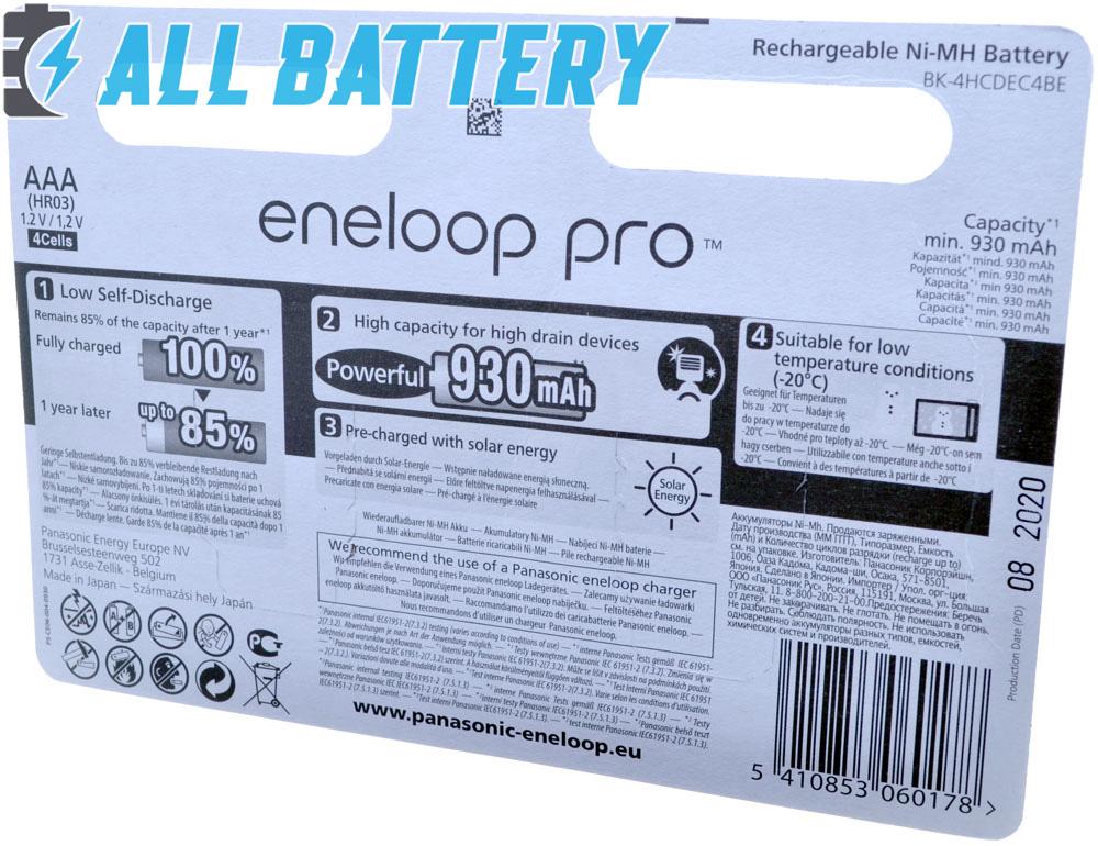 Техническая характеристика Panasonic Eneloop Pro AAA 980 mAh блистер + Бокс.