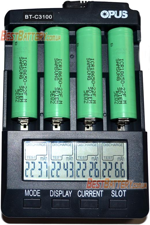 Результат тестирования аккумуляторов Samsung 18650 22F 2200 mAh Li-Ion.