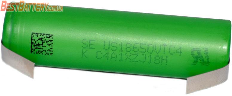 SONY / Murata 18650 VTC4 2100 mAh 30A - высокотоковый Li-ion аккумулятор с лепестками для пайки.
