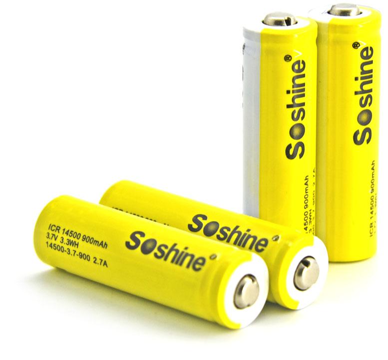 Soshine 14500 (AA) 900 mAh 3.7V - Li-Ion аккумулятор формата 14500 без защиты.