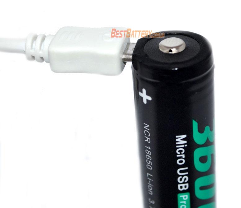 Soshine 18650 3.7V 3600 mAh USB порт для зарядки аккумулятора.