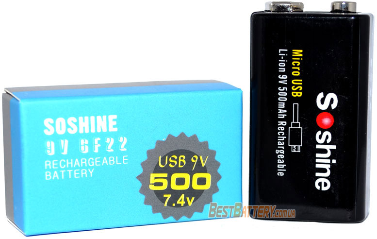Упаковка аккумуляторов Крона Soshine 500 mAh USB Li-ion.