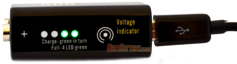 Soshine Крона USB 500 mAh Li-Ion индикатор уровня заряда.