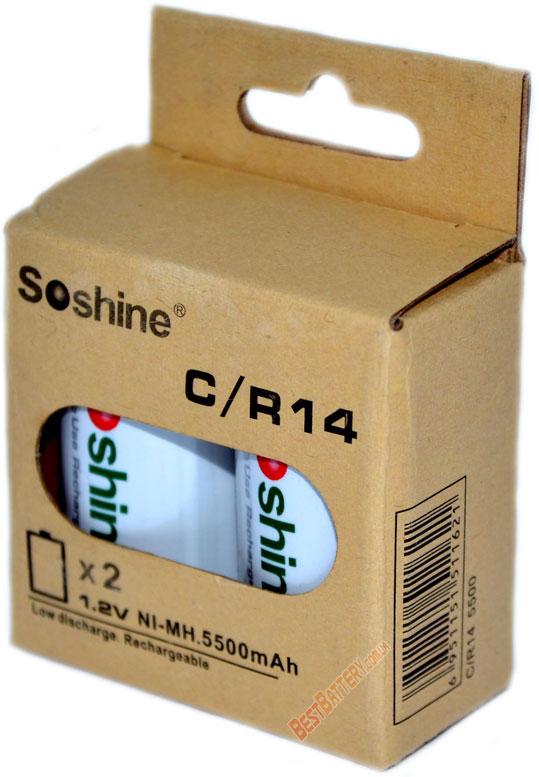 Аккумуляторы Soshine RTU C (R14) 5500 mAh в упаковке.