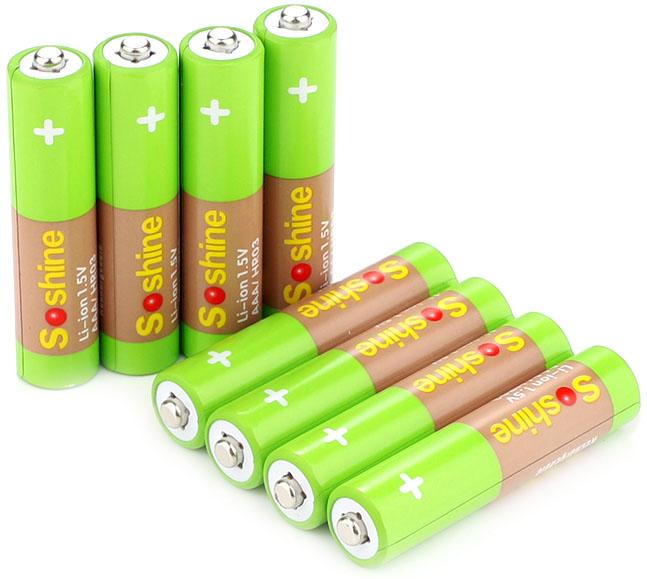 Soshine Li-Ion 1.5V 600 mWh минипальчиковые аккумуляторы повышенного напряжения.