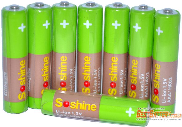 Минипальчиковые аккумуляторы Soshine Li-Ion AAA 1.5V 600 mWh.