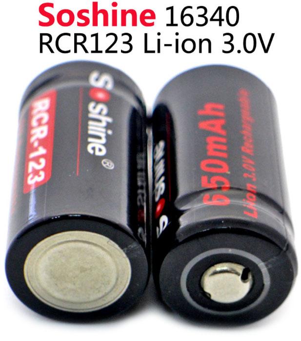 Li-Ion аккумулятор на 3 вольта Soshine 650 mAh 16340 (RCR-123).