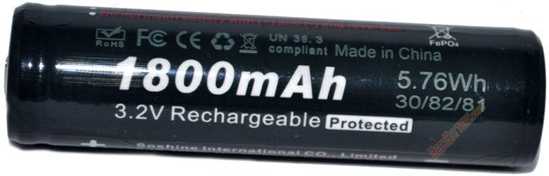 Преимущества LiFePO4 Soshine 3.2V 18650 1800 mAh